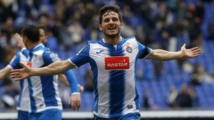 Piatti celebra un gol con el Espanyol.