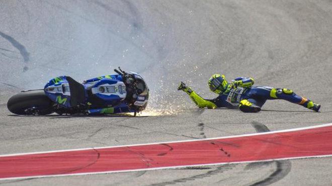 Valentino Rossi (38), por los suelos en el circuito de las Américas...
