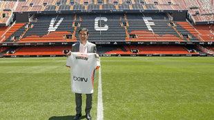 Marcelino, durante su presentación como técnico del Valencia en...