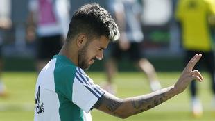 Dani Ceballos, durante un entrenamiento con el Betis