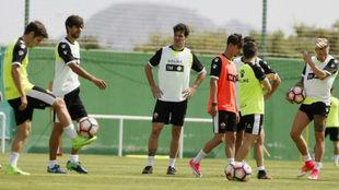 Los jugadores del Elche durante un entrenamiento.