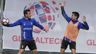 Christián y Héctor en un entrenamiento en El Requexón.