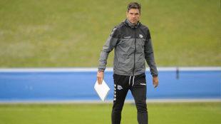 Pellegrino, en un entrenamiento con el Alavés.