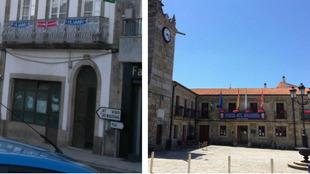 Un balcón y el ayuntamiento de A Guarda con los colores del Atlético...