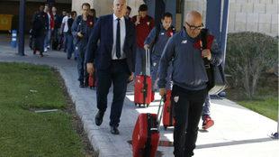 Jorge Sampaoli, en un viaje con el Sevilla.