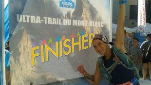 Jessica Mataix, tras acabar el Ultra Trail del Mont Blanc.