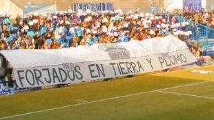 Pancarta de la afición del Linares durante esta campaña.