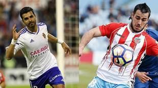 Ángel celebra un gol y Joselu controla un balón en dos partidos de...