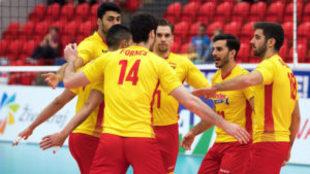 España celebra su triunfo ante Chipre.
