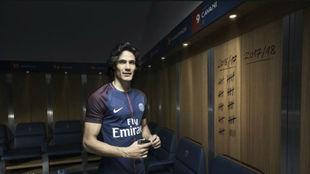 Cavani, durante la presentación de la nueva camiseta Nike del PSG.