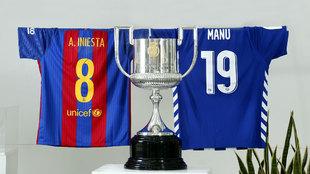 Las camiseta de los capitanes junto a la Copa en el Calderón
