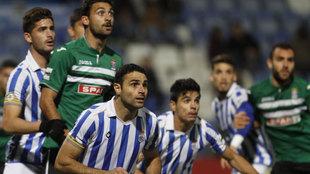 Jugadores del Recreativo de Huelva durante un partido ante el...
