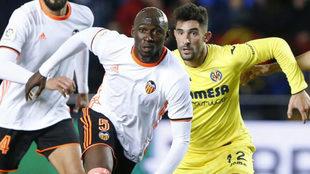 Mangala durante el partido ante el Villarreal en Mestalla.