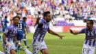 Álex Pérez celebra el único gol de la tarde.