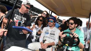 Fernando Alonso, durante el último entrenamiento en Indianápolis