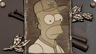 Así luce la placa de Homero Simpson en Cooperstown.