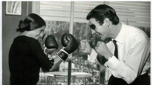Luis Folledo bromeando con una conocida bailaora