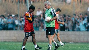 Romario y Luis Aragonés durante un entrenamiento