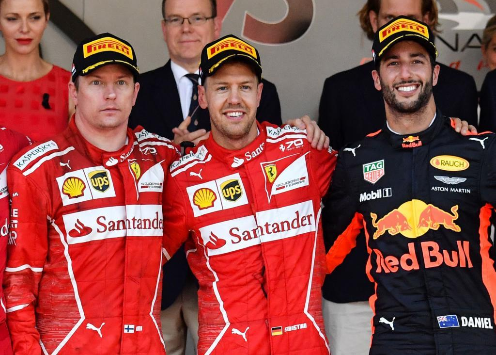 Raikkonen, Vettel y Ricciardo