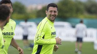 Bonera durante un entrenamiento con el Villarreal