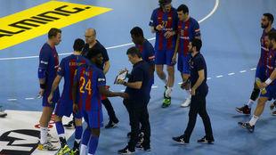 'Pasqui' durante un tiempo muerto del Barcelona