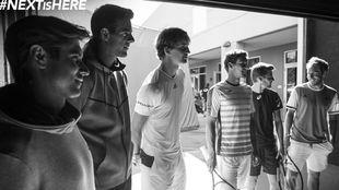 Los seis tenistas, durante el el rodaje