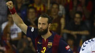 Jesper Noddesbo celebra un gol ante el RK Zagreb