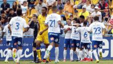 Los jugadores del Tenerife celebran un gol ante el Alcorcón.