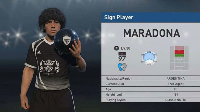 Esta es la imagen de Maradona en el Pro Evolution Soccer.
