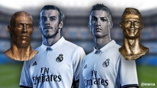 Los bustos de Bale y Cristiano Ronaldo realizados por Emanuel Santos