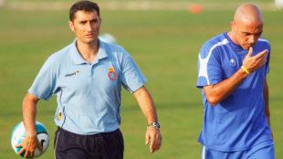 Ernesto Valverde durante su etapa como entrenador del Espanyol.