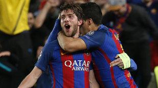 Sergi Roberto celebra un gol con el Barcelona