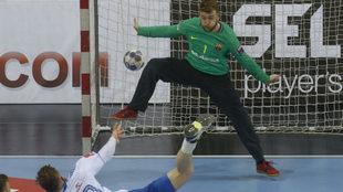 Pérez de Vargas, en un partido de la fase de grupos de la Liga de...
