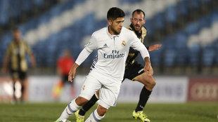Sergio Díaz durante un partido con el Real Madrid Castilla