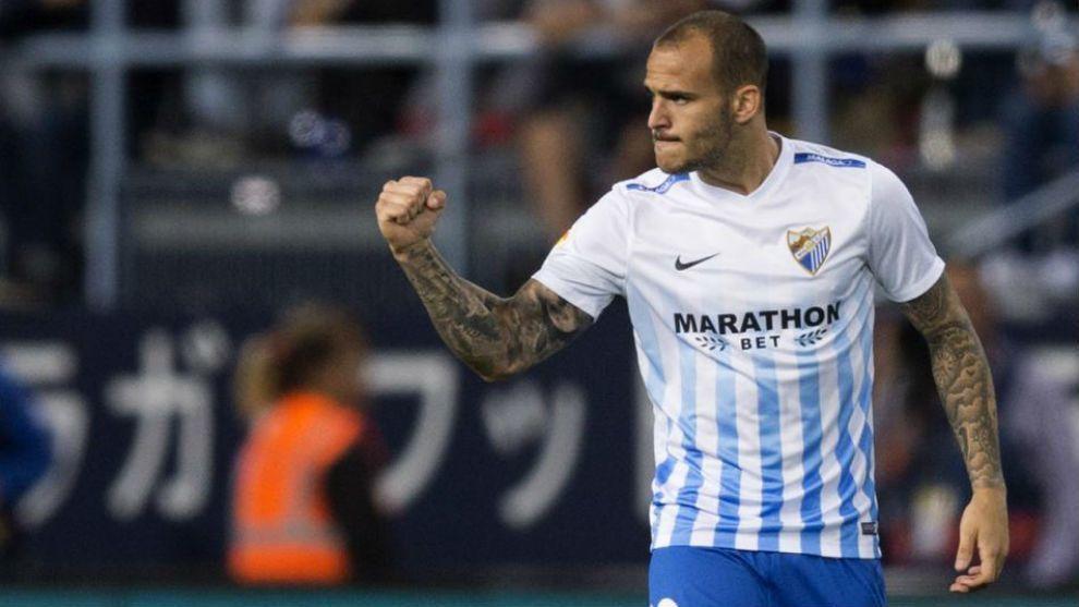 Sandro celebra un gol con el Málaga durante esta temporada.