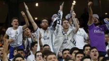 Aficionados del Real Madrid durante la final de la Champions