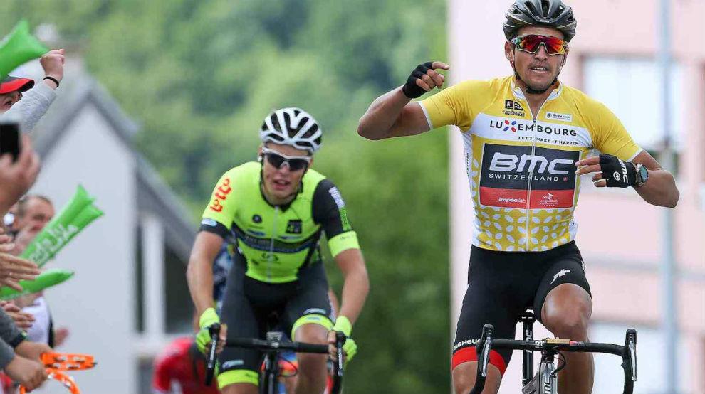 Greg Van Avermaet celebrando su triunfo en Luxemburgo.