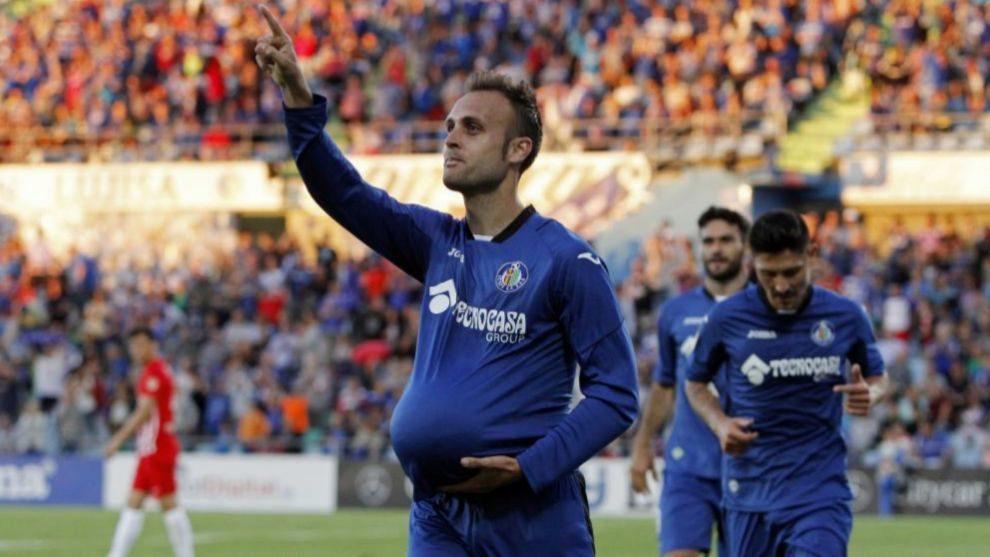 Juan Cala celebrando un gol importante para el Getafe esta temporada