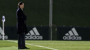 Solari en un partido en el Di Stéfano esta temporada