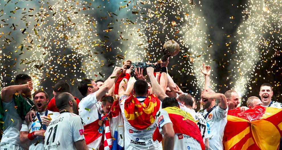 Los jugadores del Vardar celebran la 'Champions'