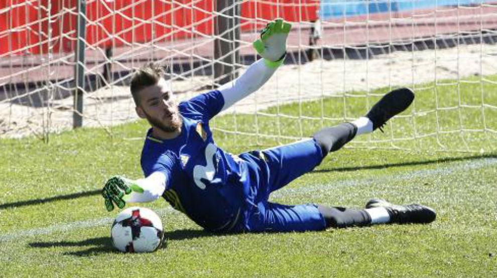 David de Gea en una entrenamiento con la Selección española.