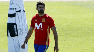 Diego Costa, en el ensayo del martes de la selección.