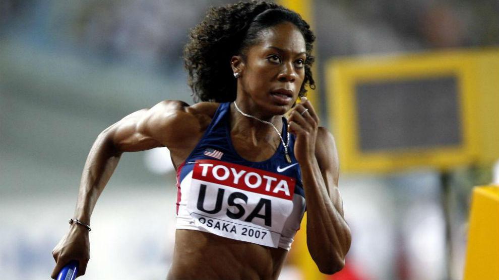 Sanya Richards, durante los Mundiales de atletismo de Osaka 2007.