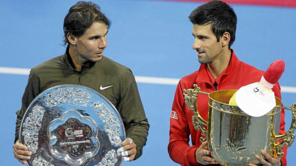 Nadal y Djokovic, en la entrega de trofeos
