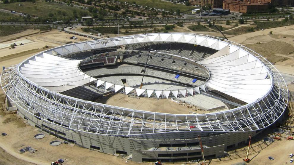 Vista de las obras de construcción del Wanda Metropolitano