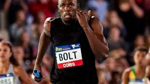 Usain Bolt, durante el relevo 4x100 de la Nitro Athletics Meeting...