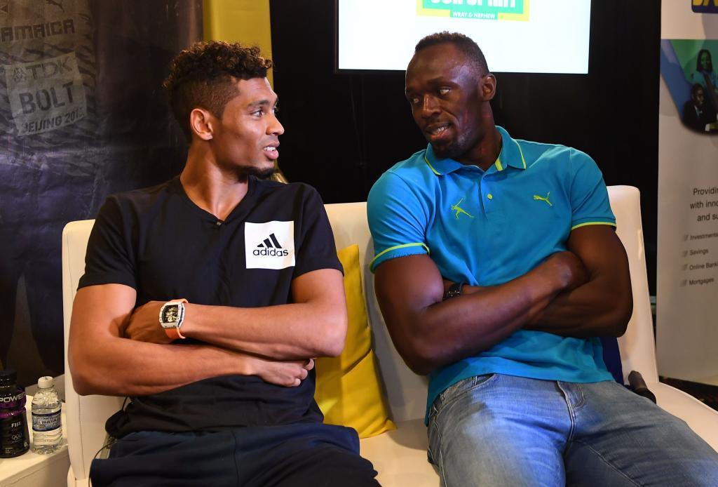 Bolt y Wayde Van Niekerk en la rueda de prensa previa a la reunión de...