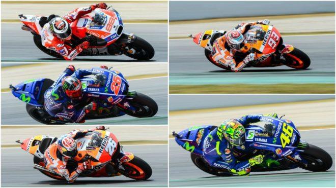 Lorenzo, Viñales, Pedrosa, Márquez y Rossi.