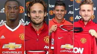 Bailly, Blind, Rojo y Shaw, en sus presentaciones con el Unitedd