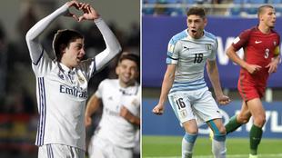 Federico Valverde, con el Castilla y con Uruguay.